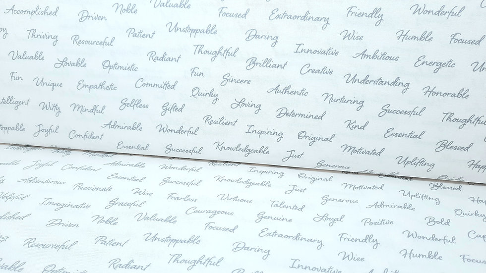 Appreciation Whistler Studios, skrift grå på hvit, 0,5 m