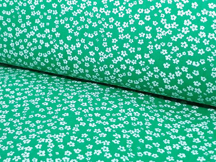 bomullstoff grønn småblomstret