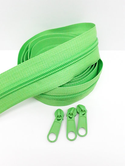 glidelås 5mm spiral, lysegrønn