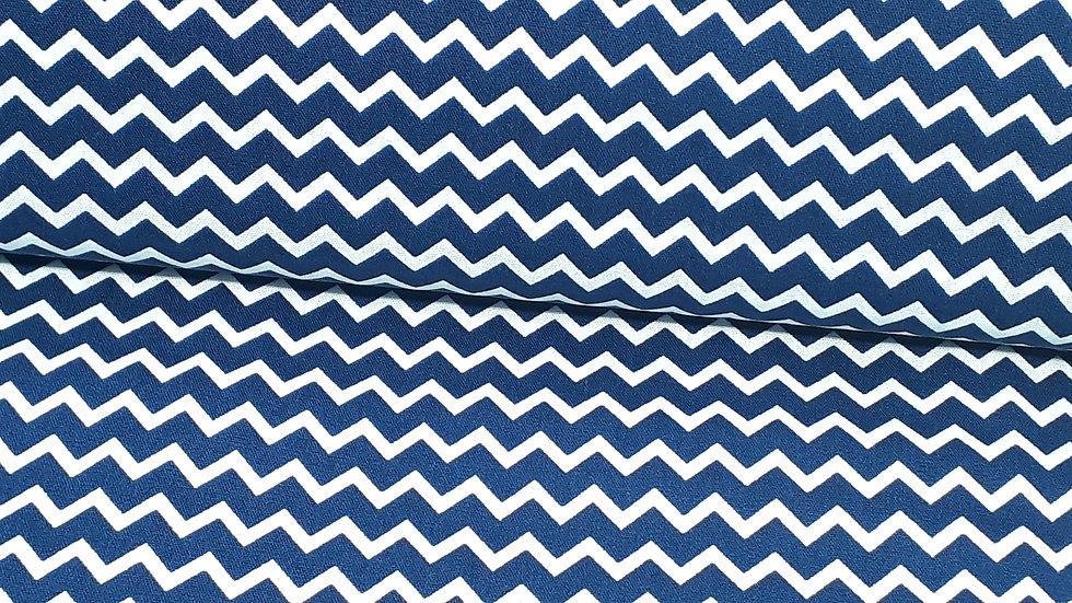 bomullstoff mini chevron blå/hvit