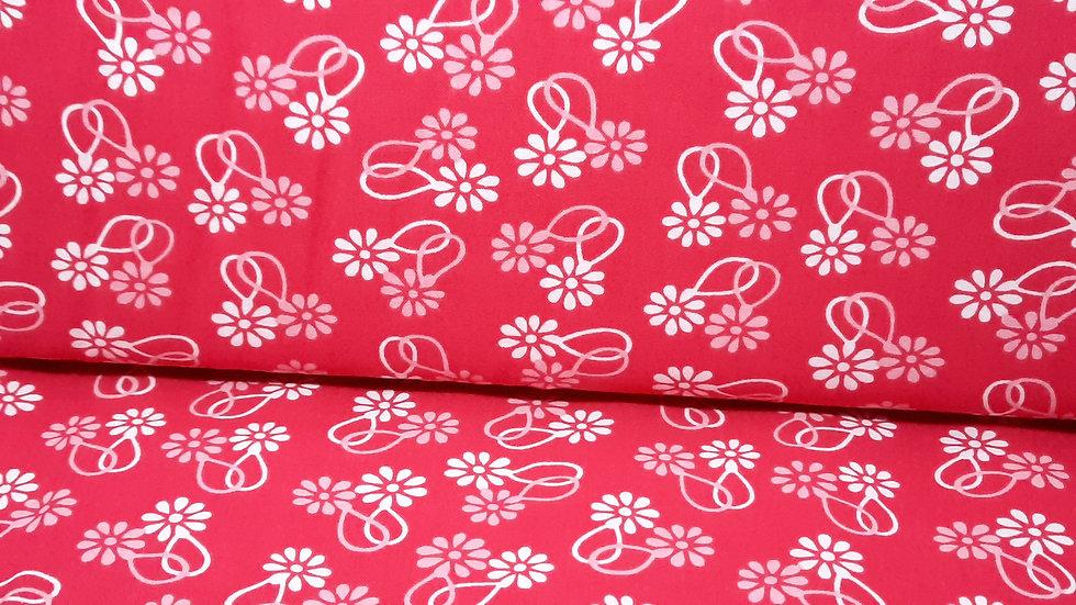 Cheeky Urban Chicks, rød med hvite og rosa blomster, 0,5 m