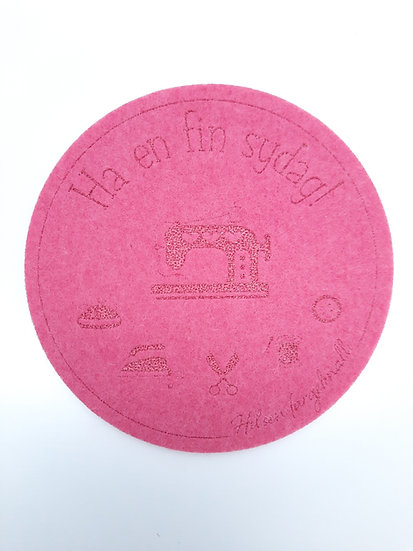 filt brikke til glass og kaffeekopp, rosa