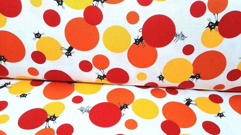 CoCoLand katter med sirkler i rød, oransje, gul, 0,5 meter