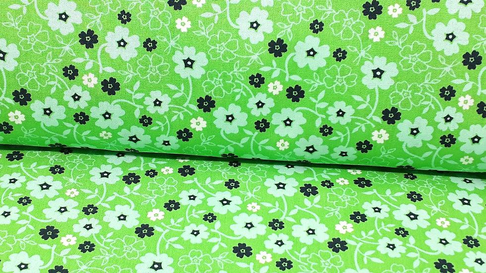bomullstoff grønn med blomster i mint og svart