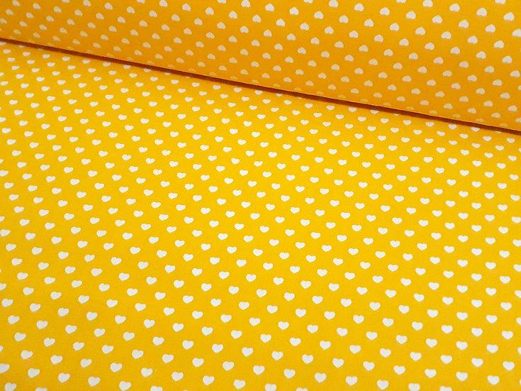 bomullstoff gul med hvite hjerter 6mm