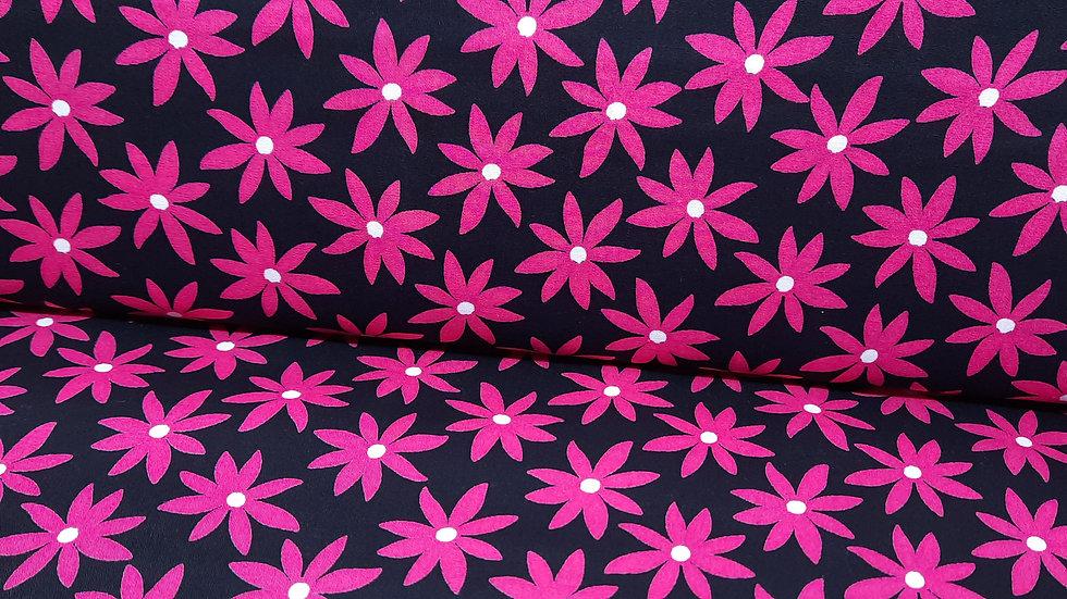 Fruit Punch Greta Lynn, blomster pink på svart, 0,5 m