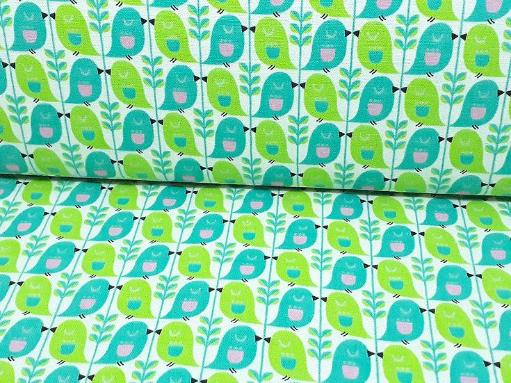 KOKKA kanvas retro fugler turkis grønn, 0,5 meter