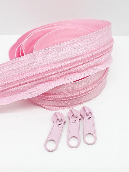 glidelås 5mm spiral, sart rosa