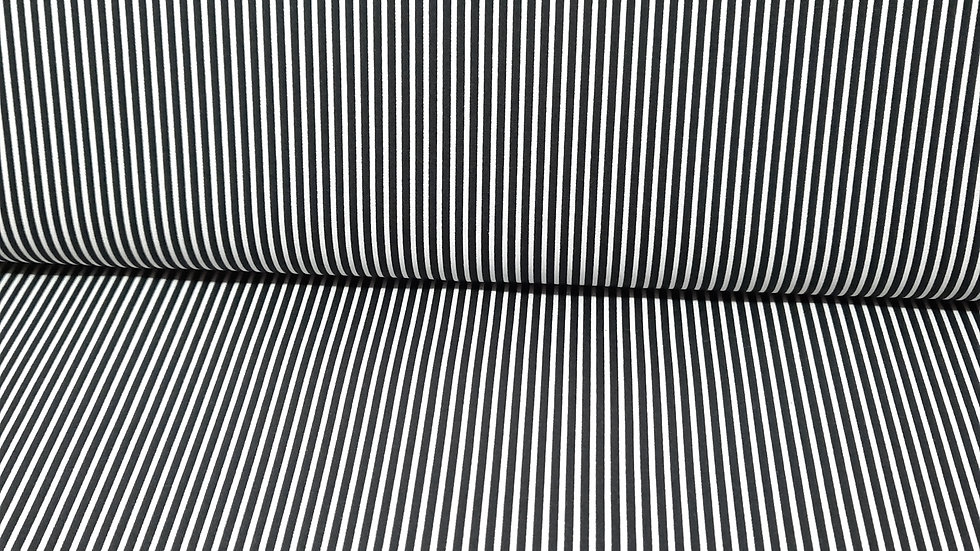 bomullstoff med svart/hvite striper