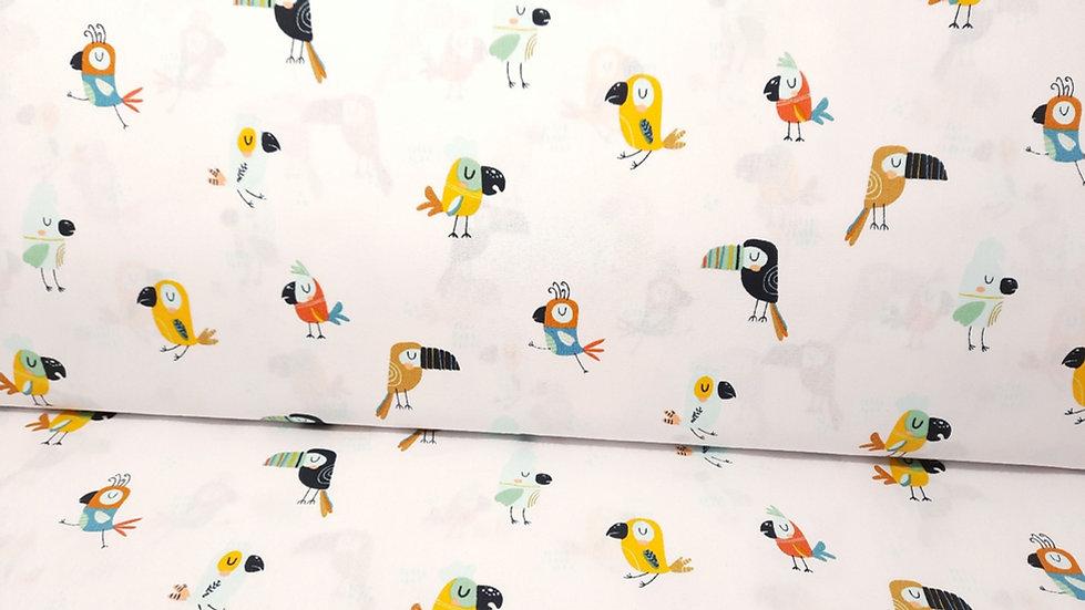 bomullstoff Cool Birds, kule fugler på hvit bunn