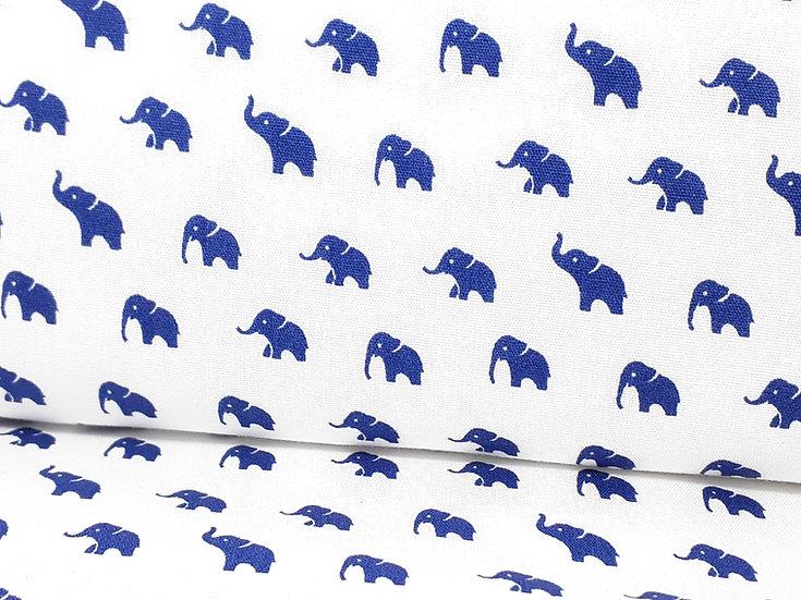 bomullstoff med blå elefanter