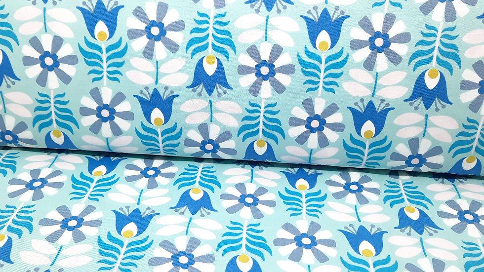 Midsommar Pippa Shaw, retro blomster i blå/grå/petrol 0,5 m