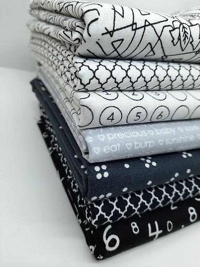 stoffpakke svart/hvit