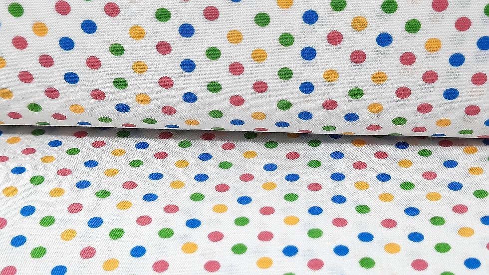 bomullstoff hvit med fargete prikker