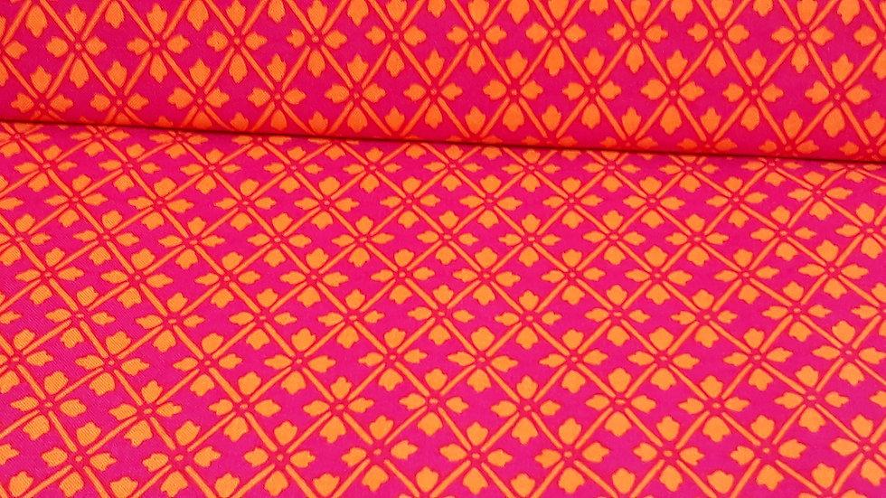 Knitty Kitty Greta Lynn, ruter og blad i fuchsia og oransje, 0,5 meter