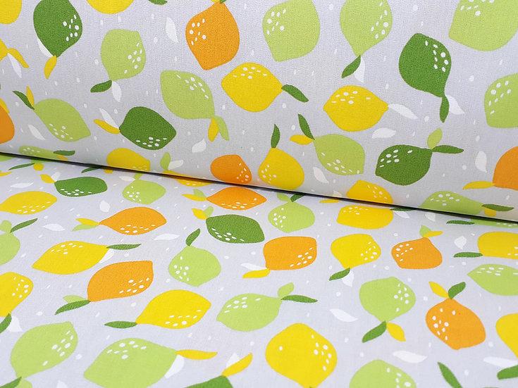 bomullstoff grå med sitrusfrukt