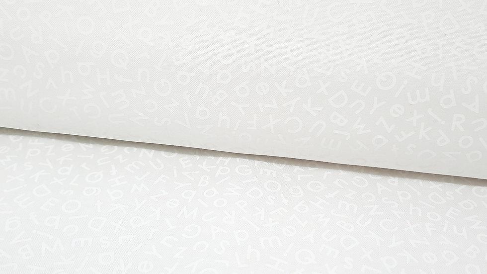 Quilting Illusions, alfabet hvit på hvit, 0,5 m