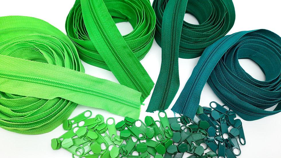 pakke 12m glidelås grønn (3 meter i 4 farger)