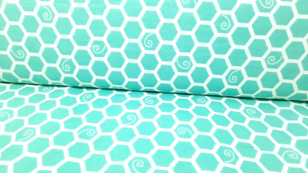 FLANELL Kimberbell Little One Too, heksagoner hvit på mint, 0,5 meter