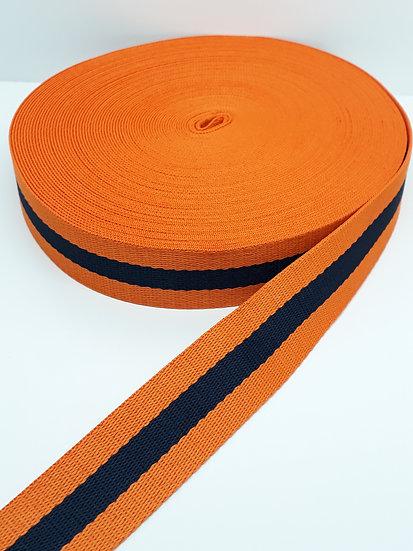 8 meter polyesterbånd med striper svart/oransje