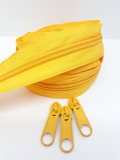 glidelås 5mm spiral, gul