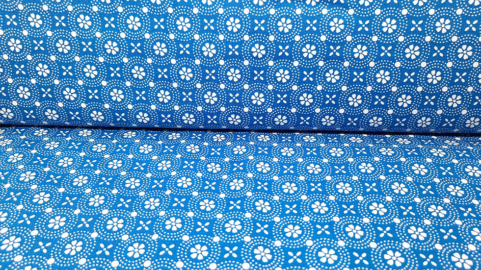 Kimberbell basics Dotted Circles, floral mønster på blå, 0,5 meter