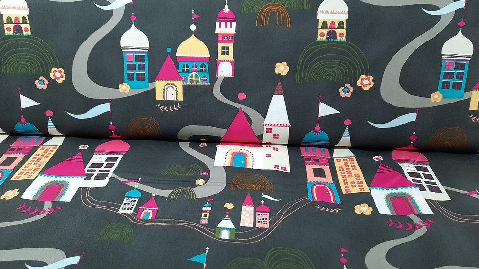 Tallinn Jessica Swift, fargerike hus på sjokoladebrun, 0,5 m