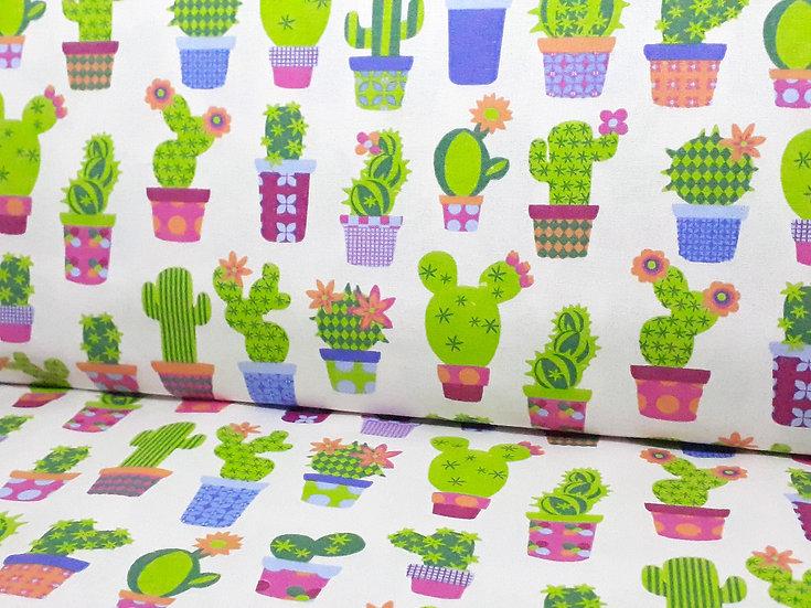 bomullstoff offwhite med kaktuser