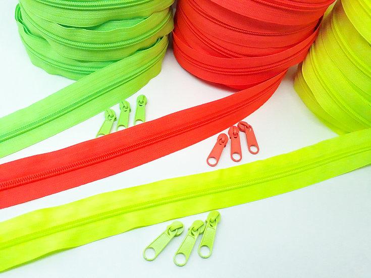 glidelås neon, metervare