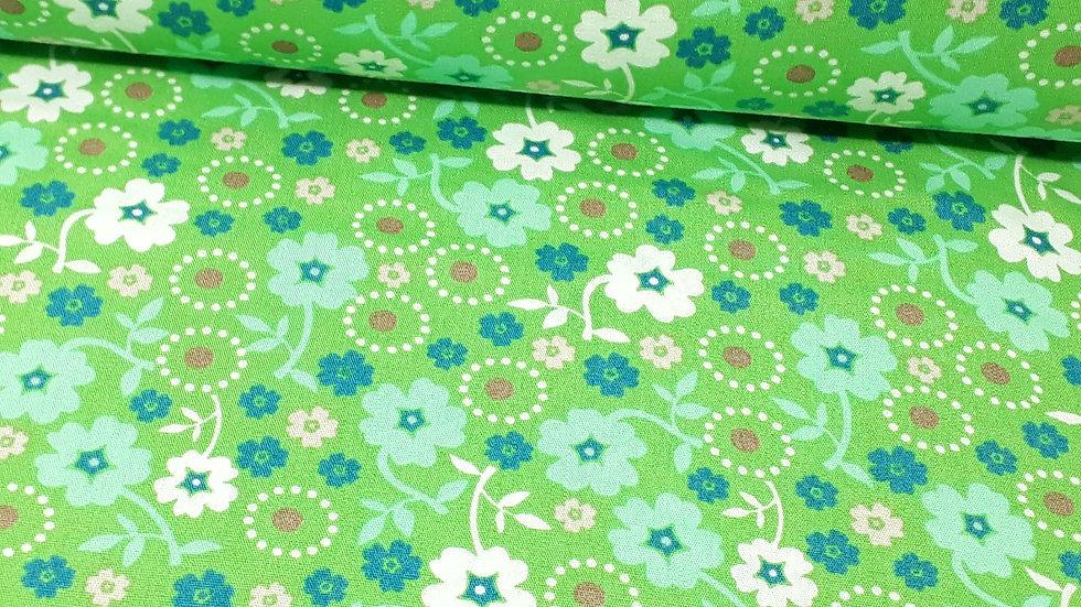 bomullstoff grønn med blomster i hvit, mint og blå