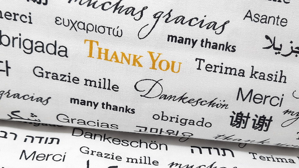 """108"""" quilt back """"Thank You"""", 0,5 m"""