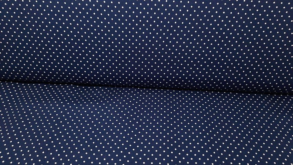 bomullstoff marineblå med hvite prikker
