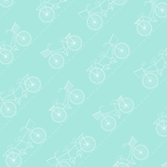 Kimberbell Vintage Boardwalk, sykler på mintgrønn, 0,5 m