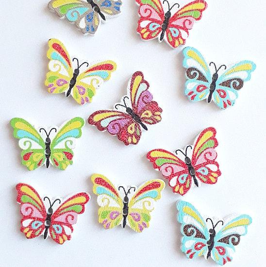 treknapper sommerfugler, 10 stk.