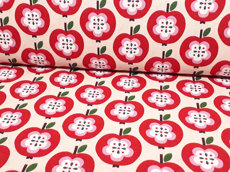 KOKKA kanvas retro epler sand/rosa, 0,5 meter