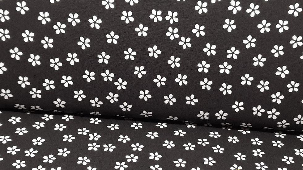 bomullstoff daisy hvit på svart