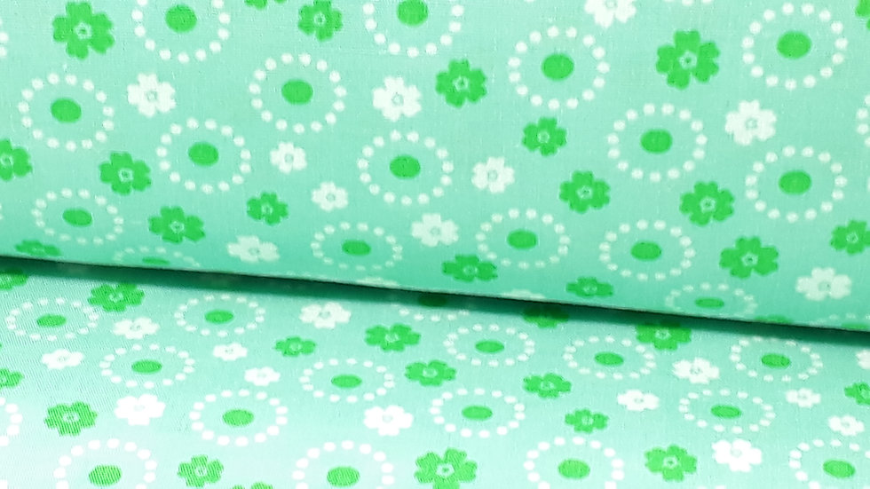 bomullstoff mint med blomster i grønn og hvit