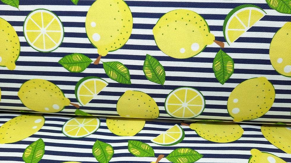 kanvas med sitroner på marineblå striper