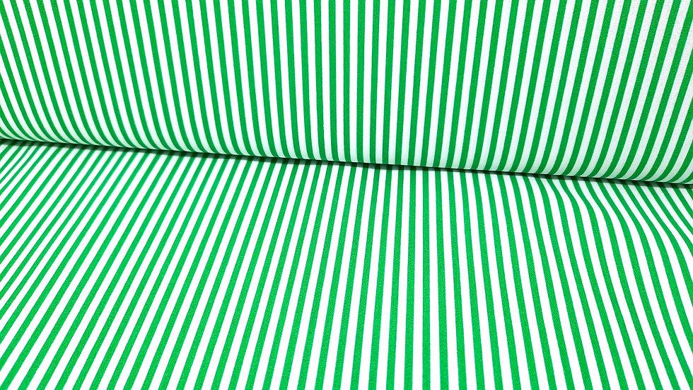 bomullstoff 3mm striper grønn/hvit