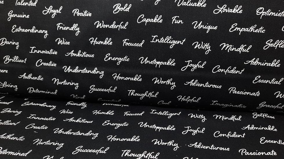 Appreciation Whistler Studios, skrift hvit på svart, 0,5 m