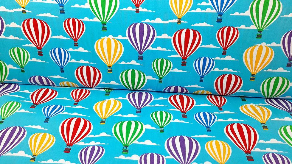 bomullstoff lyseblå med varmluftsballoner