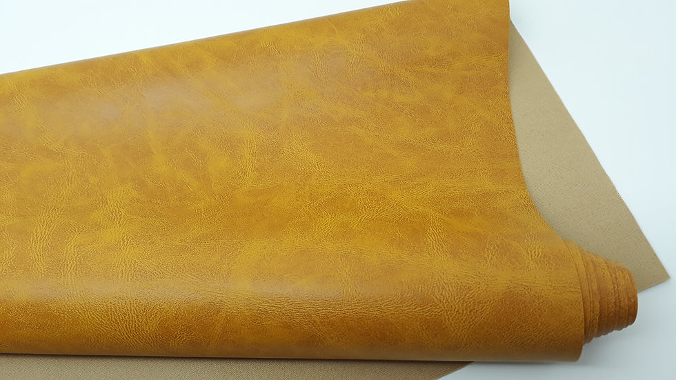 imitert lær/kunstskinn antique look sennep, 50 cm x 1,40 m