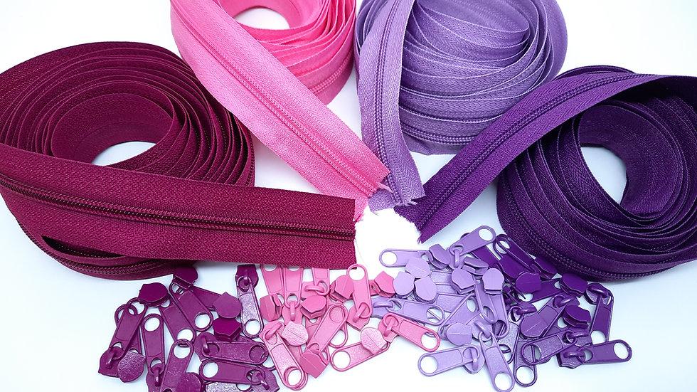 pakke 12m glidelås lilla / rosa (3 meter i 4 farger)