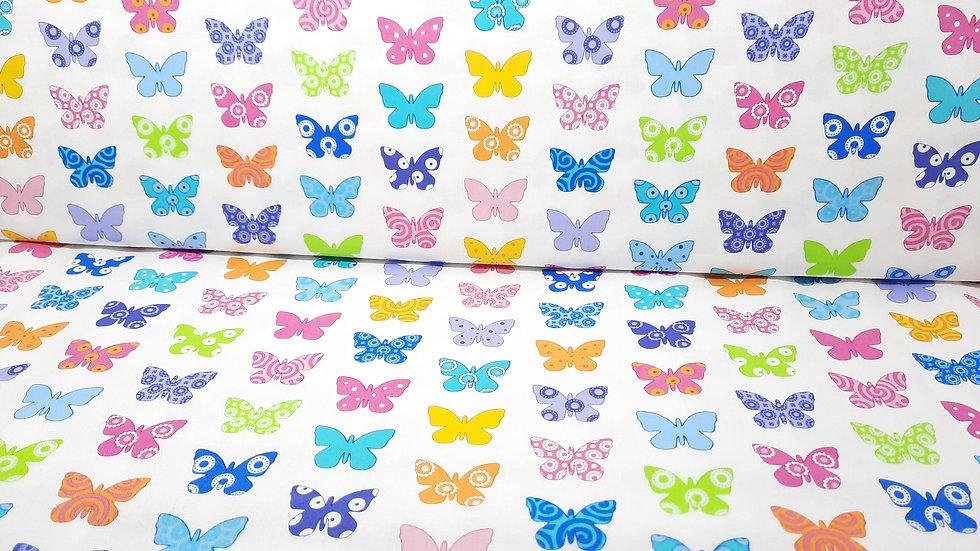 Brighten up! Me & My Sister Designs, sommerfugler på hvit, 0,5 meter
