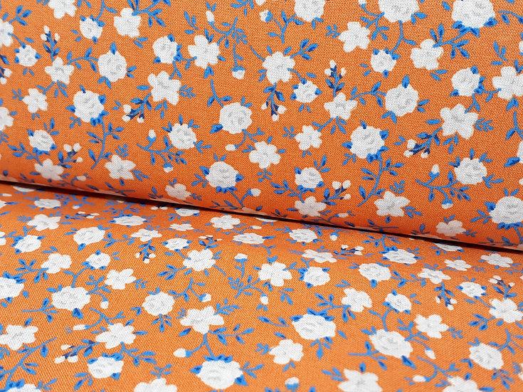bomullstoff oransje med små roser i grå/blå