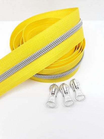 glidelås gul med sølvfarget spiral, metervare
