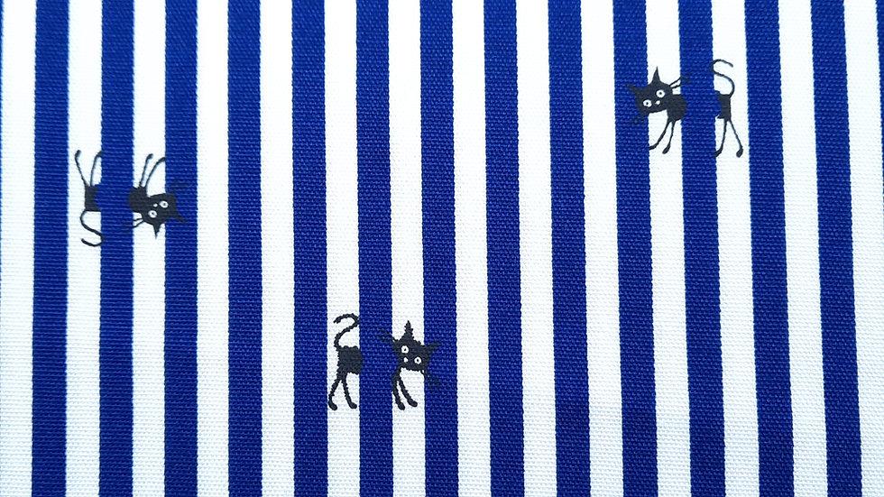 CoCoLand katter med striper marineblå/hvit, 0,5 meter