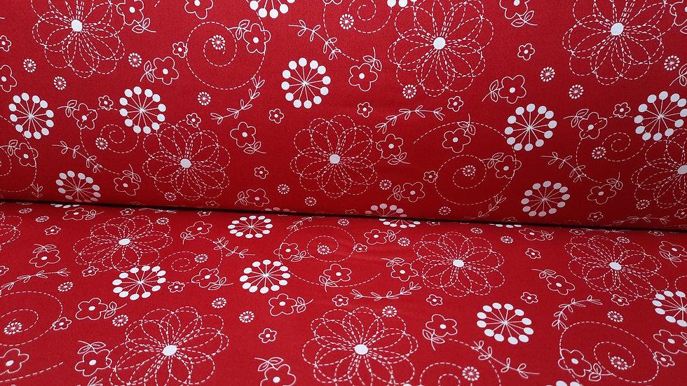 Kimberbell basics Doodles, floral mønster på dyprød, 0,5 meter