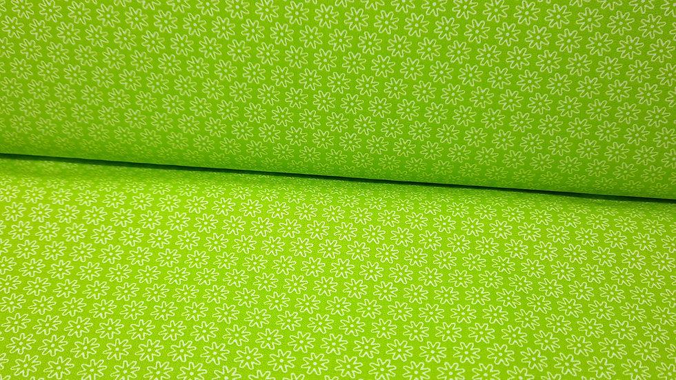 bomullstoff lysegrønn med hvite småblomster