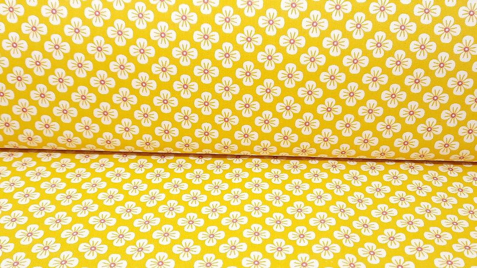 bomullstoff Sweet Japan Flowers, hvit/rosa på gul